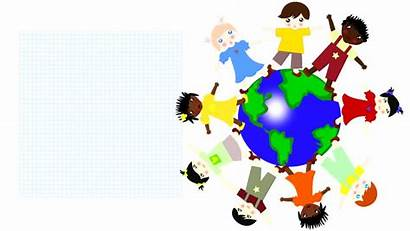 Races Different Children Cartoon Animation Spinning Planet