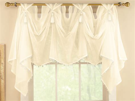 collections etc tassel sheer scoop valance curtains ebay