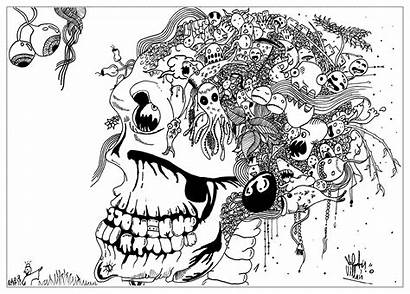 Coloring Pages Doodle Skull Weird Doodling Printable
