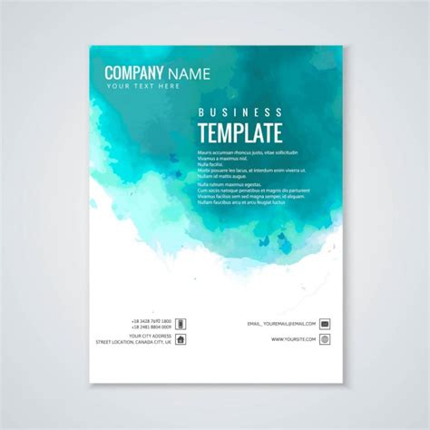 turquoise template brochure turquoise watercolor vector free download