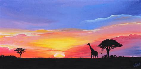 African Sunset Landscape Painting Vibrant Masai Mara