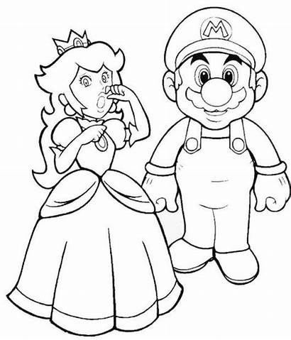 Peach Mario Coloring Princess Printable Sheet Classic