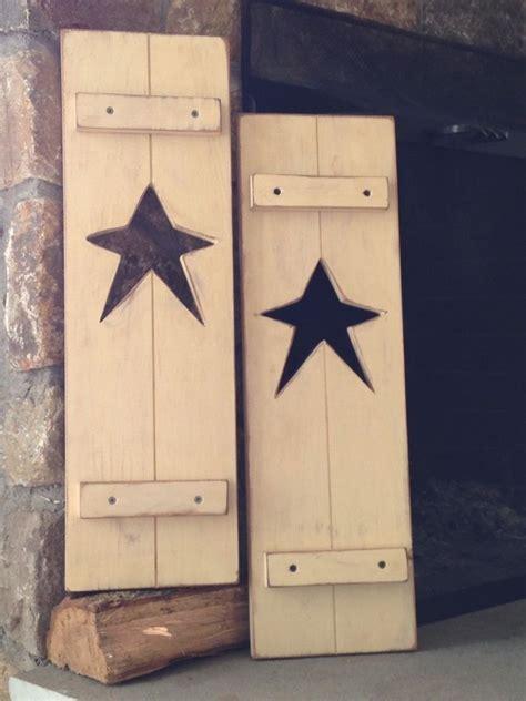 Details About Primitive Rustic Set Star Shutters