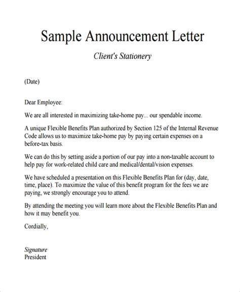sample announcement letter template   documents