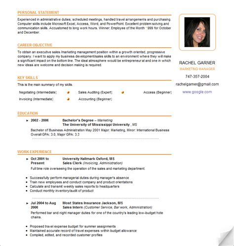 Resume Photo by Sle Resume Template Learnhowtoloseweight Net