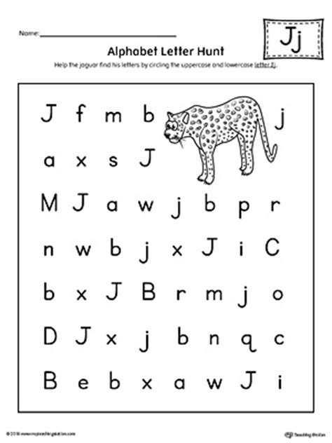 alphabet letter hunt letter  worksheet