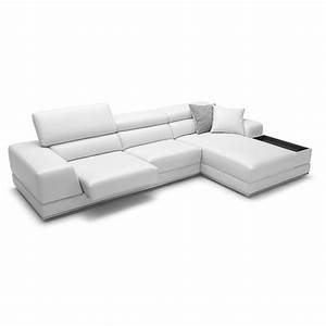 Premium reclining sectional white leather modern bergamo sofa for Modern sectional sofa clearance
