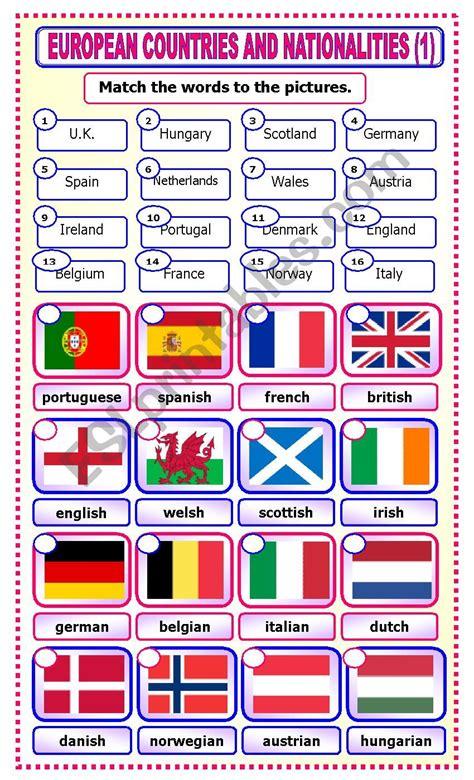 european countries  nationalities matching esl