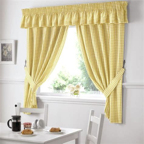 Bathroom Curtains 54 Drop by Gingham Check Kitchen Top Curtains Yellow