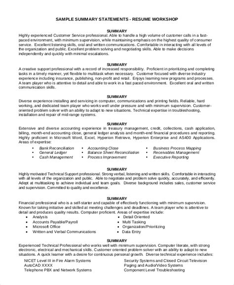 Strong Words For Resume by Sle Summary For Resume 8 Exles In Word Pdf