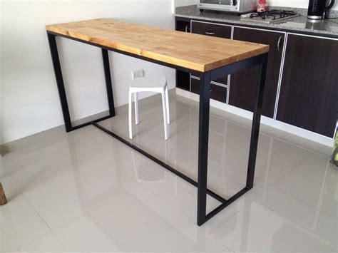 mesa hierro  madera desayunador cocina  en