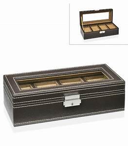 Coffret Rangement Montre : coffret de rangement pour montres en similicuir marron et plexiglas ~ Teatrodelosmanantiales.com Idées de Décoration