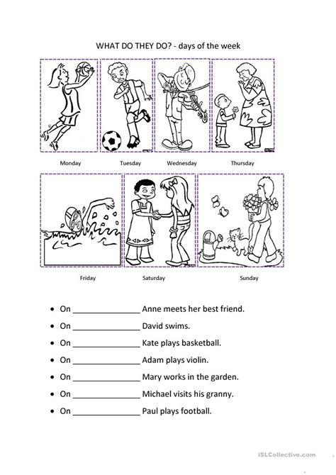 days   week worksheet  esl printable worksheets