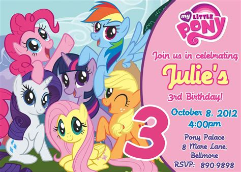 custom photo invitations   pony birthday invitation