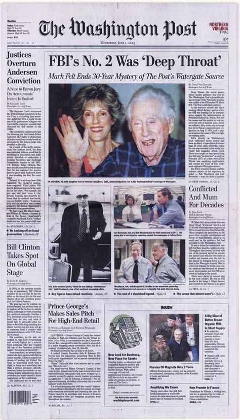 watergate throat deep washington mark felt bernstein newspaper bob 2005 scandal woodward reporters revealed carl front headlines fbi source director