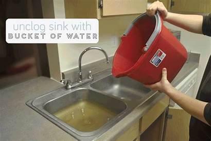Sink Bucket Water Fix Clogged Plumbing Diy