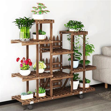 flower rack plant stand multi wood shelves bonsai display