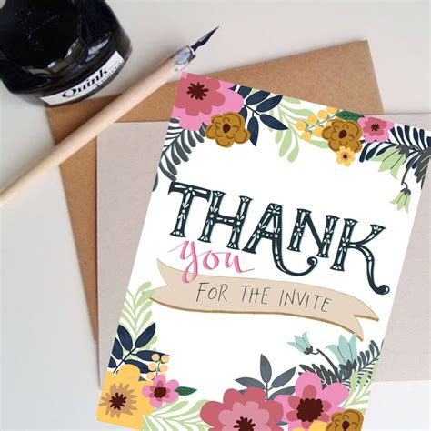 Thank You For The thank you for the invite floral card by the posy