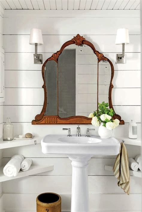 shiplap bathroom wood ceiling antique mirror livingroom modern farmhouse bathroom vintage
