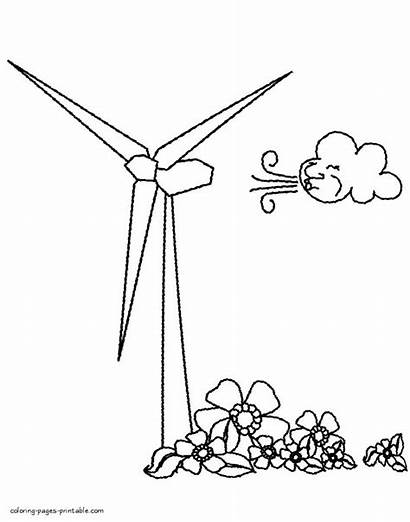 Coloring Wind Energy Pages Turbine Printable Sheets