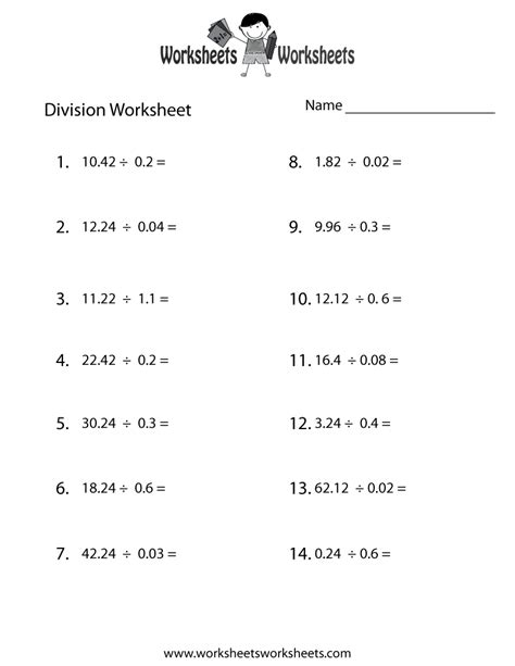 decimal division worksheet worksheets worksheets