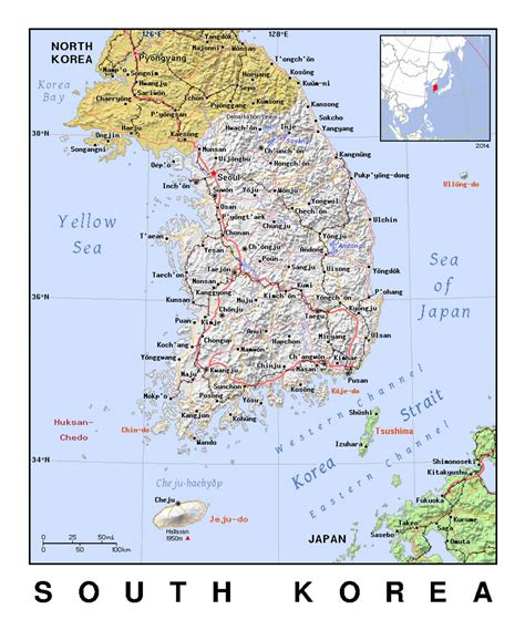 detailed political map  south korea  relief south