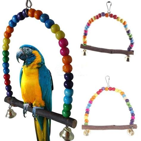 colorful parrot swing pet toy colorful bird parakeet budgie lovebird wood budgie lovebird