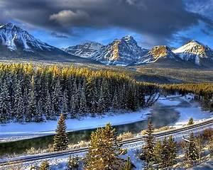 Winter, Landscape, Hd, Wallpaper, Railway, River, Forest, Trees, 3840x2400, Wallpapers13, Com