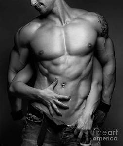 Woman Hands Touching Muscular Man's Body Photograph by