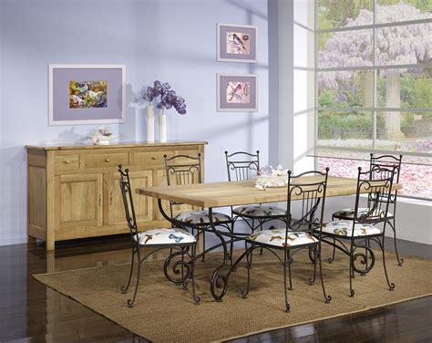 chaises en fer forgé table rectangulaire 200 100 plateau chene massif 6