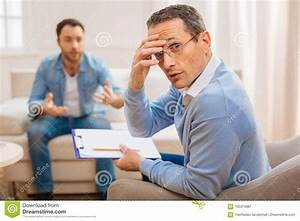 Tired Amazed Psychologist Conducting Therapy Stock Image ...