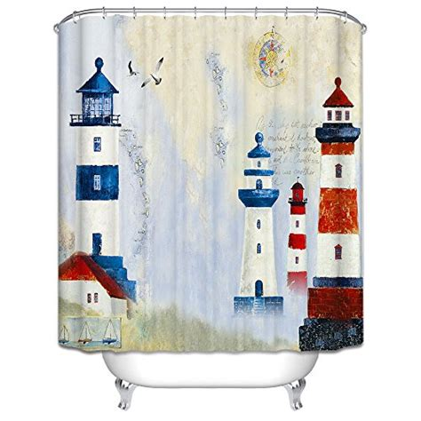 lighthouse shower curtain nautical design mildew resistant lighthouse shower