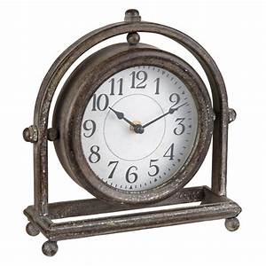 Foreside, Home, U0026, Garden, Round, Rustic, Metal, Battery, Operated, Table, Clock, -, Walmart, Com