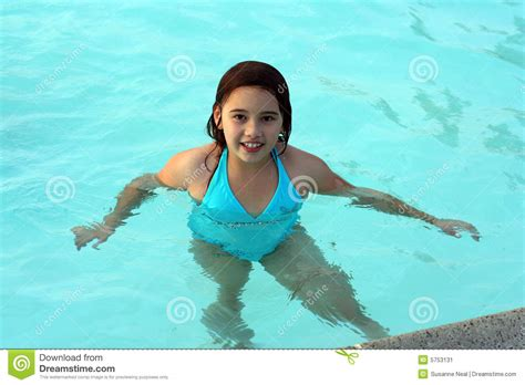 Smiling Girl In Swimming Pool Stock Image  Image 5753131