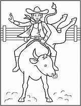 Coloring Rodeo Cowboy Pages Printable Print Drawing sketch template