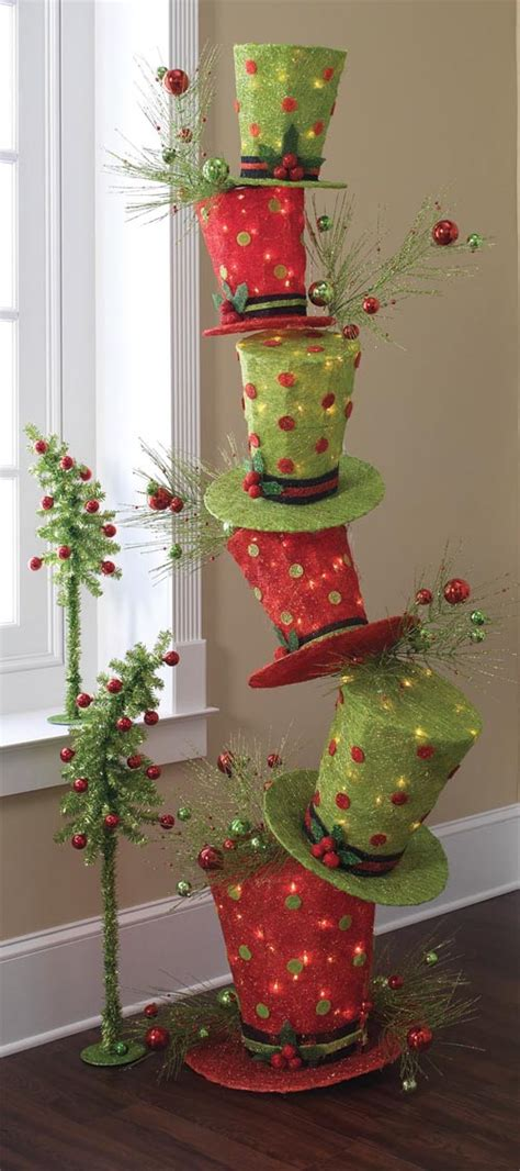 raz whimsical stack  lighted top hats trendy tree blog