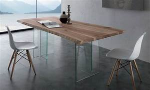 Table Plateau Verre Pied Bois : table en verre design pour un espace de vie chic et moderne ~ Melissatoandfro.com Idées de Décoration
