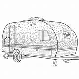Coloring Camping Camper Printable Caravan Zentangle Adult Colouring Trailer Sheets Camp Campers Trailers Crafts Colour Happy Doodle Zoom Visit Guardado sketch template