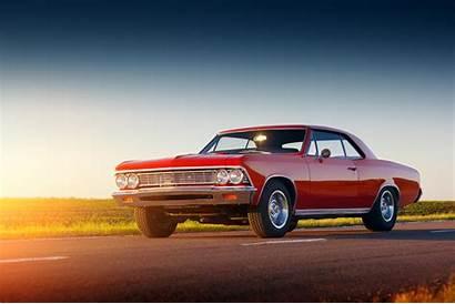 Cars Muscle Classic American Sunset Retro Asphalt