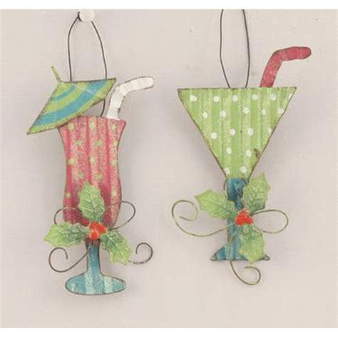 cocktail drink ornaments set of 6