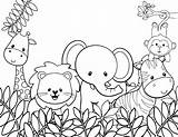 Coloring Animals Animal Pages Jungle sketch template