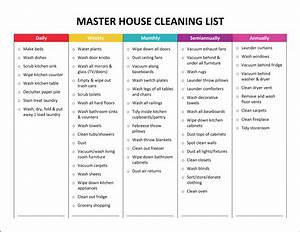 5 house cleaning list templates formats examples in With domestic cleaning schedule template