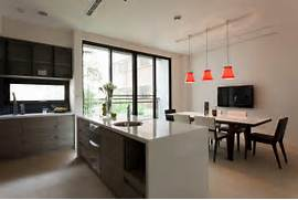 Handle Free Kitchen Units Provide A Streamlined Look In This Kitchen Small Kitchen Inspiration Decorating Your Small Space Small Kitchen Island Designs With Seating Design Decor Idea Inspiring Kitchen Design Ideas Home Bunch Interior Design Ideas