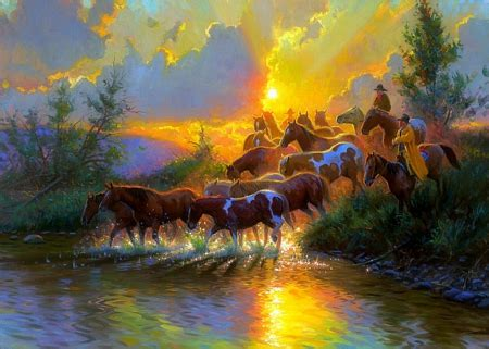 Morning Animal Wallpaper - morning roundup horses animals background wallpapers