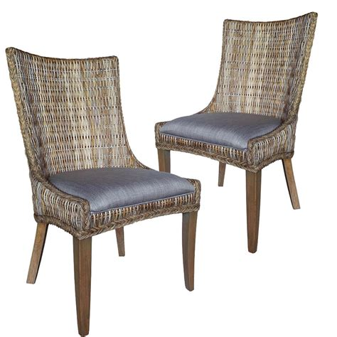 Cottage Chairs by Matisse Country Cottage Woven Dining Side Chairs Grey
