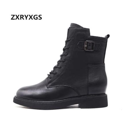 Black And White Cowhide Boots by Zxryxgs Brand Shoes Ankle Boots 2018 New