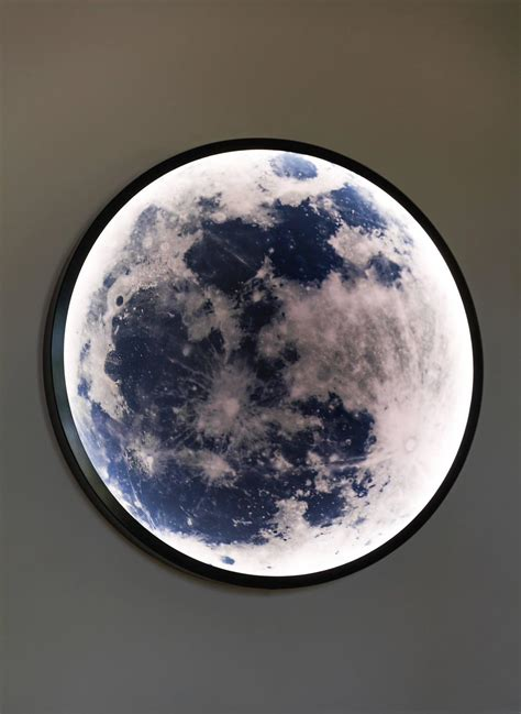 Contemporary Blackened Steel And Glass Wall Mounted Moon