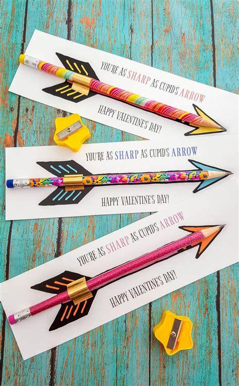 cupids arrow pencil printable valentines cards