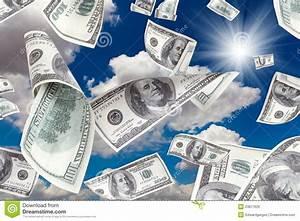 Money Falling From The Sunny Sky Stock Photo - Image: 23877626