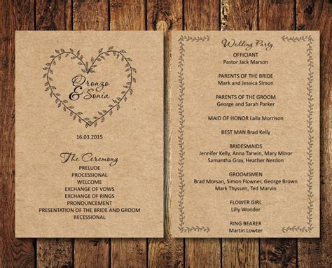 editable wedding program rustic kraft wedding program